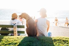 Free Person Wearing White Tank Top Sitting Beside The Brown Labrador Near Seashore Royalty Free Stock Photos - 83066138