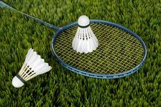 Free Blue Badminton Racket With Shuttlecock Royalty Free Stock Image - 83066146