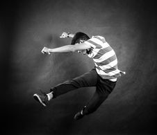 Free Grayscale Photograph Of Man Wearing White And Black Stripe Crew Neck T Shirt Stock Image - 83066351