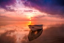 Free Boat On Sea In Magical Dawn Colors Stock Images - 83066624