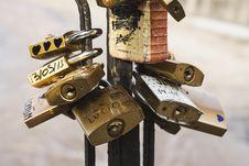 Free Brass Padlock On Black Metal Stand Stock Image - 83066671