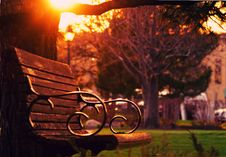Free Brown Wooden Bench On Sunset Stock Photos - 83067033