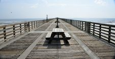 Free Black Wooden Picnic Table On The Wooden Dock Royalty Free Stock Images - 83067989