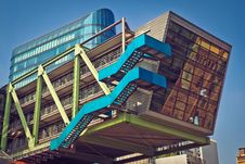 Free Brown Blue And Green Building With Blue Staircase Royalty Free Stock Images - 83068039