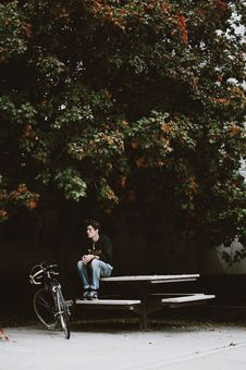 Free Man In Black Jacket Sitting On White Picnic Table Beside Black Cruiser Bike Under Green Leafed Tree During Daytime Stock Image - 83068101