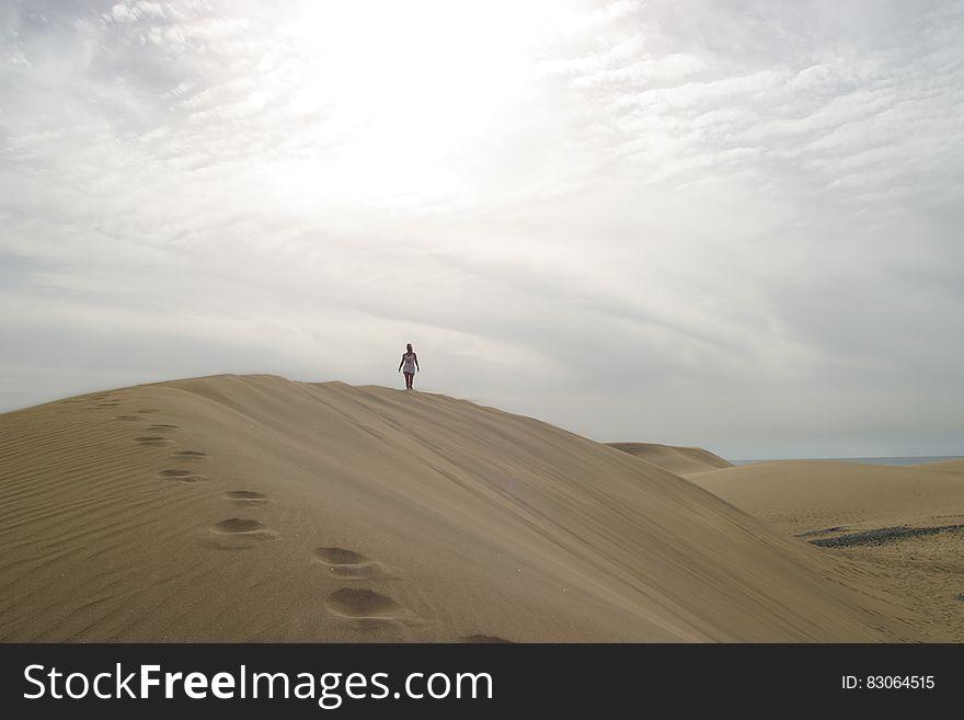 Traveler on sand dune