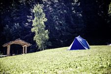 Free Blue And White Tent On Green Grass Field Near Green Tree Stock Image - 83074161