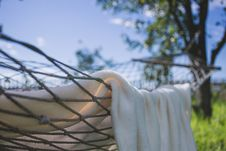 Free Brown Hammock With Towel Near Trees Royalty Free Stock Images - 83074769