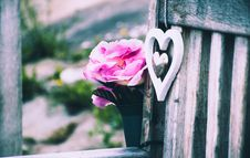 Free Heart And Flowers On Bench Stock Photography - 83075052