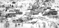 Free Village On Mountain Covered With Snows Royalty Free Stock Images - 83075179