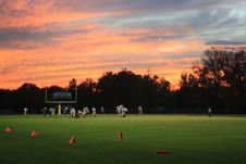 Free Football Game At Sunset Stock Photo - 83075260