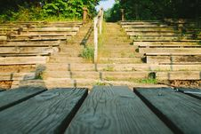 Free Wooden Seats In Outdoor Theater Royalty Free Stock Photos - 83075378