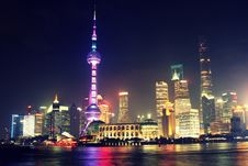 Free Shanghai City Skyline At Night Royalty Free Stock Image - 83076116