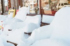 Free Chairs Covered In Snow Royalty Free Stock Photography - 83076357