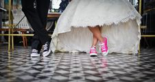 Free Woman Wearing Pink And White Low Top Shoes Dancing Beside Man Stock Photo - 83076440