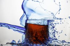 Free Blue Clear Glass Cup Splashed Of Water Stock Photo - 83076890