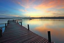Free Wooden Jetty On Lake At Sunset Royalty Free Stock Images - 83077239