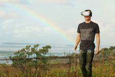 Free Man With VR Headset Stock Image - 83077341