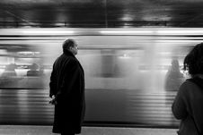 Free Grayscale Of Man Near Train On Train Station Royalty Free Stock Photos - 83077408