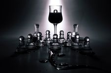 Free Wine Glass And Glass Chess Pieces Stock Images - 83077434