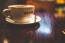 Free White Ceramic Cup And Saucer Latte Stock Image - 83077551