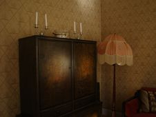 Free Black Wooden Wardrobe And White And Pink Pedestal Lamp Inside The Room Royalty Free Stock Photography - 83077697
