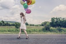 Free Woman With Ballons Royalty Free Stock Photo - 83077855