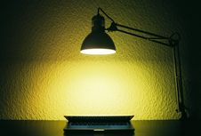 Free Desk Lamp And Computer Laptop On Table Royalty Free Stock Photography - 83077947