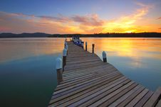 Free Wooden Dock At Sunset View Royalty Free Stock Photo - 83077975