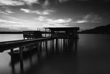 Free Greyscale Photo Of Dock Near Mountains Stock Images - 83078074