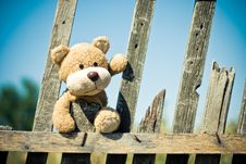 Free Brown Teddy Bear On Brown Wooden Fence Stock Photography - 83078522