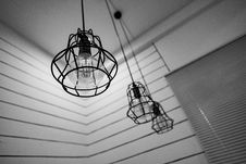 Free Black Steel Framed Round Pendant Lamp Indoors Near Window Blinds On Grayscale Royalty Free Stock Images - 83078739
