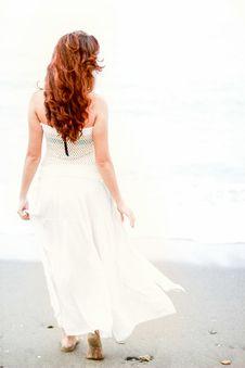 Free Redhead Woman On Beach Stock Photography - 83078772