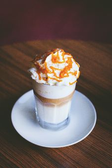 Free White And Brown Caramel Frappe On Clear Drinking Glass Stock Photos - 83078833