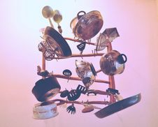 Free Kitchen Cookware Piled Up On Brown Wooden Rack Stock Photos - 83079193