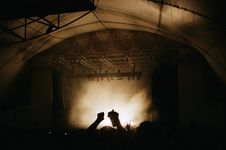 Free Sepia Picture Of A Big Stage Inside A Tent Royalty Free Stock Image - 83079656