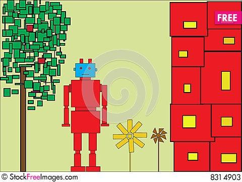 Red robot Cartoon Illustration