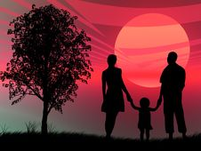 Free Family At Sunset Royalty Free Stock Photography - 8310067