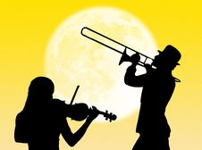Free Violin And Trumpet Players In The Moon Stock Image - 8310081