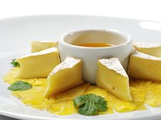 Soft Cheese With Honey Sauce Stock Photos