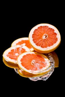 Still Life  With Ice And Grapefruit Stock Photo