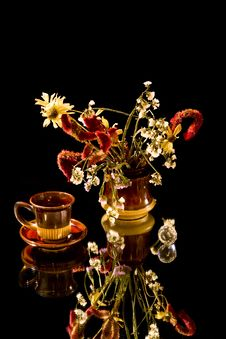 Cup Of Cofee And  Bunch Of Flowers Stock Image