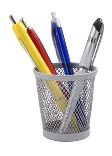 Free Colored Pens In A Metal Glass Royalty Free Stock Images - 8311469