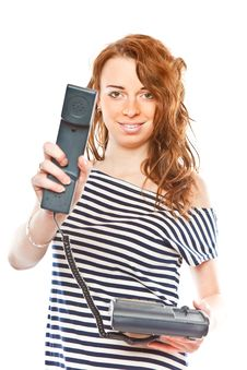 Free Beauty Girl With Phone Royalty Free Stock Image - 8311956
