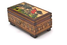 Wooden Close Case With Folk Draw Royalty Free Stock Image