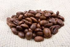 Free Coffee Heap On A Canvas Stock Photo - 8313790