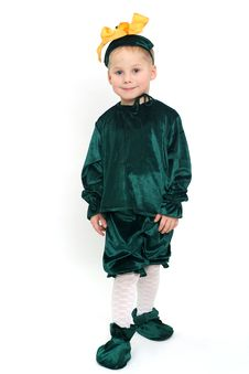 Smiling Boy In Green Costume Stock Image
