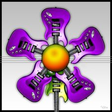 Free Purple Rock Guitar Flower Stock Images - 8315184