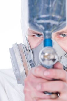 Free Man With Airbrush Gun, Selective Focus Royalty Free Stock Images - 8316199