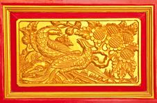 Details Of Thai Traditional Style Door Carving. Royalty Free Stock Image